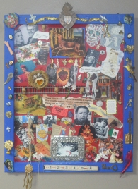 """Two Accidents"" Homage to Frida Kahlo 16"" x 20"" Assemblage with found objects"
