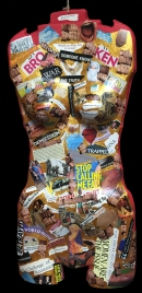 """Diamonds on the Inside"" Body Sculpture Collage Approx. 30"" x 18"" Collage and found objects"
